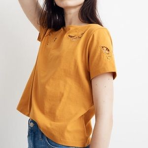 Madewell Butterfly Embroidered Cropped Tee